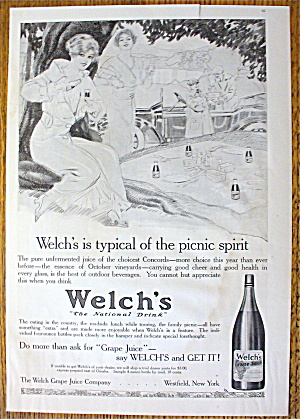 1914 Welch's Grape Juice With Women On A Picnic
