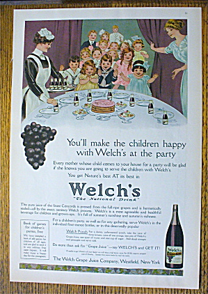 1914 Welch's Grape Juice With A Children's Party