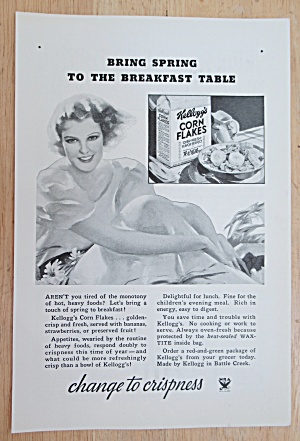 1934 Kellogg Corn Flakes with Woman Sitting (Image1)