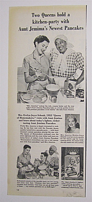 1953 Aunt Jemima Ready Mix Pancake Mix W/mrs. America