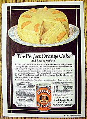 1923 Royal Baking Powder With Perfect Orange Cake