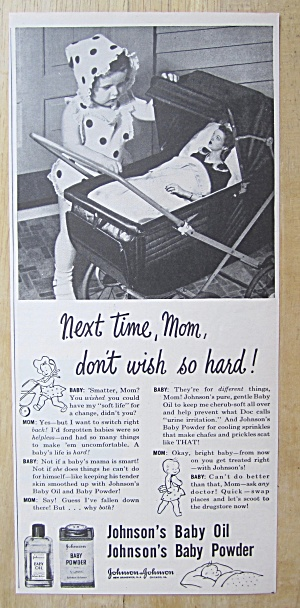 1945 Johnson Baby Powder & Oil w/Baby & Mom in Stroller (Image1)