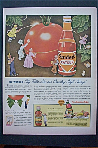 1943 Snider's Catsup With Little People Cleaning Tomato