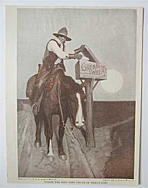 1918 Cream Of Wheat Cereal With Cowboy Mailing A Letter