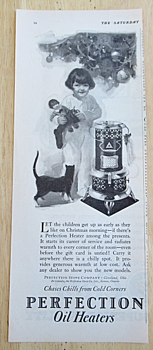 1926 Perfection Oil Heater with Little Girl Near Heater (Image1)