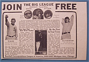 Vintage Ad:1913 Join The Big League w/Walsh & Mathewson (Image1)