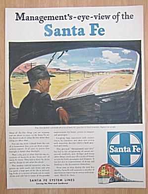 1946 Santa Fe System Lines w/Man Looks Out Train Window (Image1)