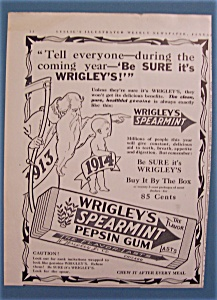 1914 Wrigley's Spearmint Pepsin Gum With Baby & Ribbon