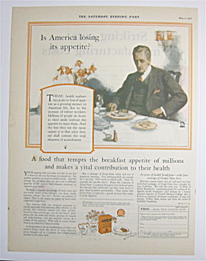 1925 Grape Nuts Cereal With Man Eating Breakfast