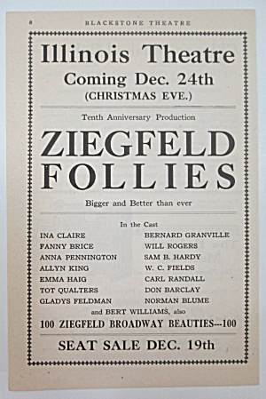 1917 Illinois Theatre with Ziegfeld Follies  (Image1)