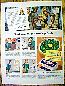 Vintage Ad: 1944 Birds Eye Frozen Foods W/ Dinah Shore