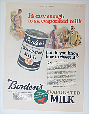 1927 Borden's Evaporated Milk With Can Of Milk