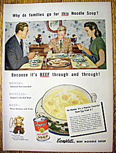 1947 Campbell's Beef Noodle Soup W/family Having Dinner