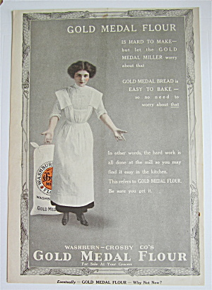 1912 Gold Medal Flour W/ Woman Standing By Bag Of Flour