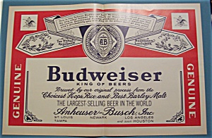 1965 Budweiser Beer with the Budweiser Label  (Image1)