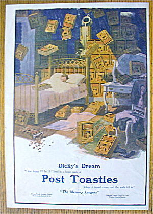 1912 Post Toasties With Little Boy Dreaming
