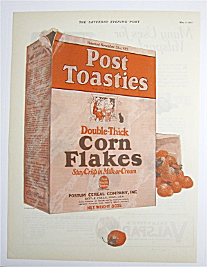 1925 Post Toasties W/ Box Of Post Toasties Corn Flakes