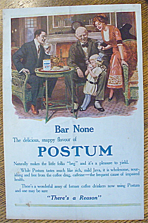 1913 Postum Cereal With Family Around The Table