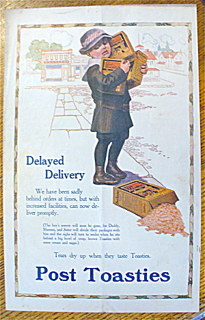 1913 Post Toasties with a Boy Holding 3 Boxes Of Cereal (Image1)