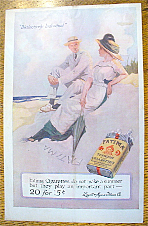 1913 Fatima Cigarettes With Man & Woman On The Beach