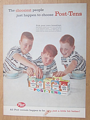 1959 Post Tens Cereals with Three Boys & Cereal  (Image1)