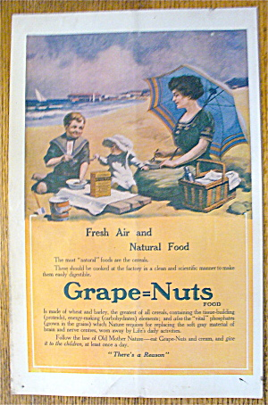 1913 Grape-nuts Cereal With Woman & Child On Picnic