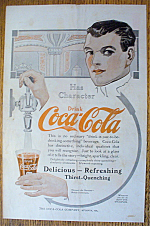 1913 Coca-cola (Coke) With Man Filling Glass With Soda