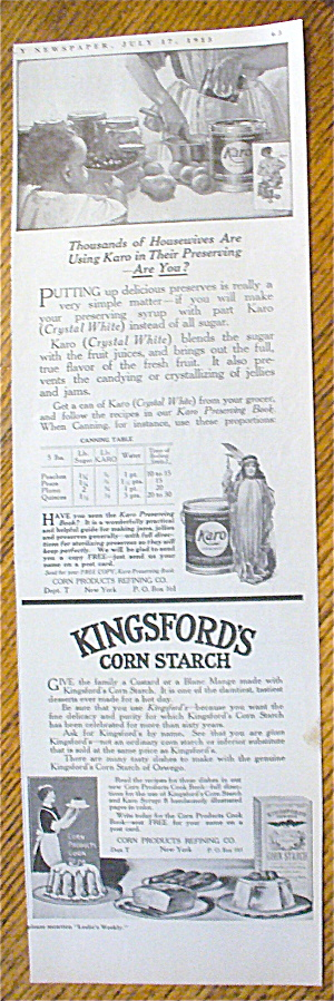 1913 Kingsford's Corn Starch With Child Watching Woman