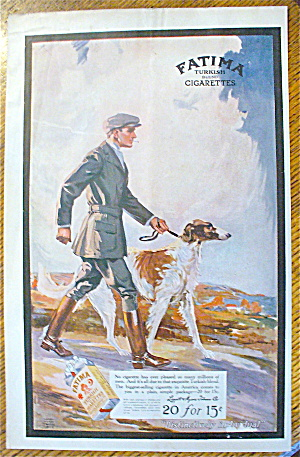 1912 Fatima Cigarettes With Man Walking Dog