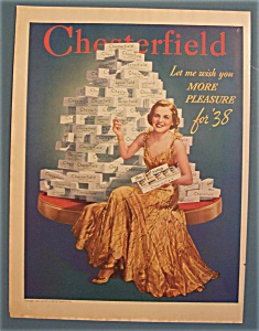 1938 Chesterfield  Cigarettes w/Woman Sitting By Stack (Image1)