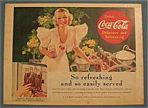 1937 Coca-cola (Coke) With Woman Holding Glass