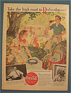 1937 Coca-cola (Coke) With Boy & Girl On A Picnic