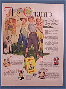 1937 Cream Of Wheat Cereal With Boy Showing Muscles