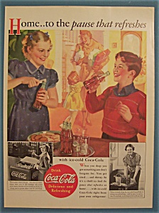 1937 Coca-cola (Coke) With Boy & Girl Drinking Soda