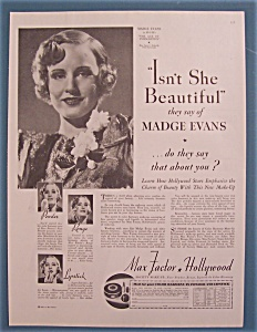 Vintage Ad: 1935 Max Factor With Madge Evans
