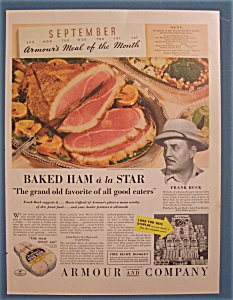 Vintage Ad: 1935 Armour Baked Ham W/ Frank Buck