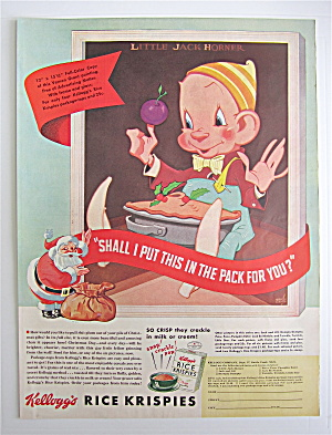 1938 Kellogg's Rice Krispies Cereal W/fellow & Plum