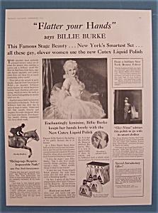 Vintage Ad: 1928 Cutex Liquid Polish w/Billie Burke (Image1)