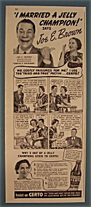 Vintage Ad: 1939 Certo with Joe E. Brown (Image1)