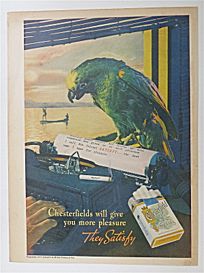 1937 Chesterfield Cigarettes with Lovely Parrot  (Image1)