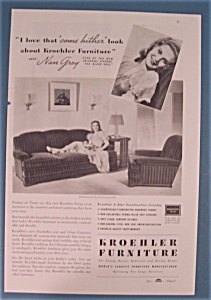 Vintage Ad 1938 Kroehler Furniture W Nan Grey