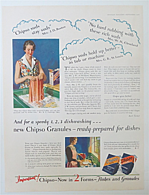 1930 Chipso Flakes & Granules With Woman Doing Laundry