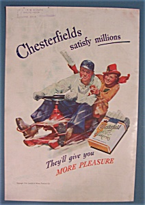 1938 Chesterfield Cigarettes W/man & Woman In Snow