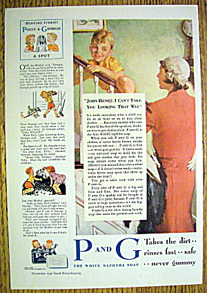 1932 P & G White Naptha Soap With Woman Watching Boy