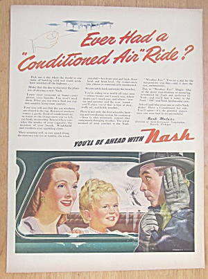 1946 Nash Conditioned Air With Woman & Child In Car
