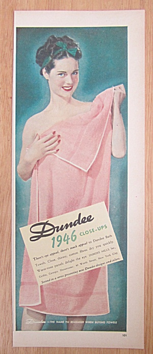 1946 Dundee Towels with Woman Holding Up Towel  (Image1)