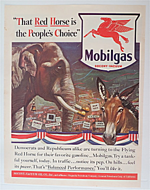 1940 Mobil Gas With An Elephant & Donkey