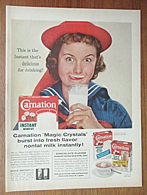 1958 Carnation Instant Dry Milk With Woman Smiling