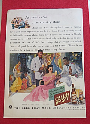 1941 Schlitz Beer With Man Serving Woman Glass Of Beer