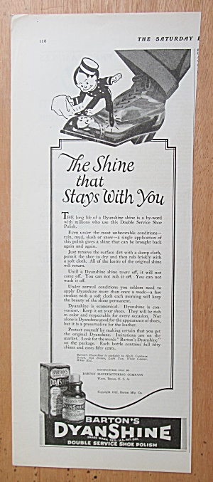 1923 Barton's Dyanshine Shoe Polish w/ Little Man  (Image1)